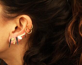 geometric stud earrings, black post earrings, black & gold stud earrings, minimalist earrings, unique texture post earrings, post earrings