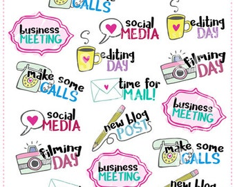 Online Business Planner Stickers for Erin Condren, Happy Planner, Plum Planner, Passion Planner... (#33)