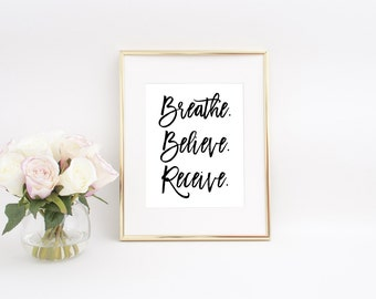Inspirational Wall Art, Wall Decor, Quote Printable, Breathe Sign, Yoga Print, Yoga Printable, Inspirational Quote, Just Breathe Print