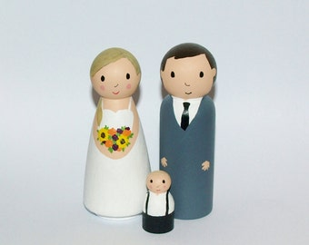 Wedding Cake Topper with Child - Custom Family Figurine - Personalized Wedding Cake Topper