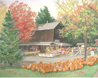 The Old Cider Mill in Connecticut. Fine Art Print. Building Artwork. Matted Art.