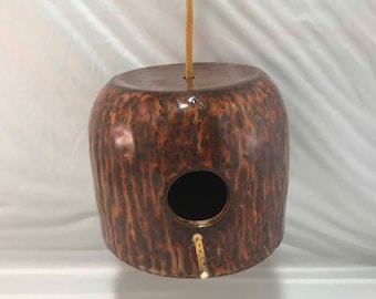 Carved Brown Stoneware Hanging Birdhouse