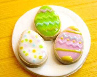 3 Polymer Clay Easter Egg Sugar Cookies with Pastel Colors, Spring Time
