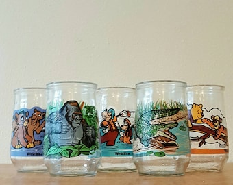 Welch's Jelly Collector Glasses Disney Pooh Goofy Lion King and Endangered Species Gorilla Crocodile