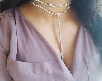 Diamond Choker, Lariat Choker, Diamond Choker Necklace, Lariat Long Necklace, Rhinestone Choker, Lariat y Necklace, Lariat Necklace