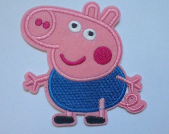 Peppa Pig Iron on Applique, George Pig Iron on Patch, Pink Peppa Pig Iron-on Application