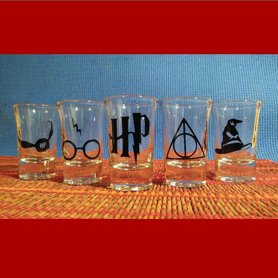 Harry Potter Shot Glass Set Of Five By Clearskyglassdesigns