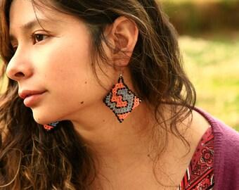 Handmade Shipibo Aya Beaded Psy Native Earrings