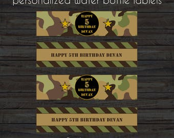 Army Water Bottle Labels, Camouflage Water Bottle Labels, Digital Water Bottle Labels, Military Water Bottle Labels, Army Birthday Party