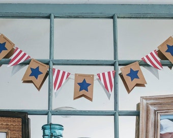4TH OF JULY Banner | Memorial Day | Summer Banner | 4th of July Decoration | Summer Mantle | American Flag | Red White and Blue