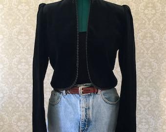 Bolero Jacket | Black Bolero Jacket | Cropped Jacket | Mandarin Collar Jacket | Black Bolero | Embroidered Jacket | Victorian | Evening Coat