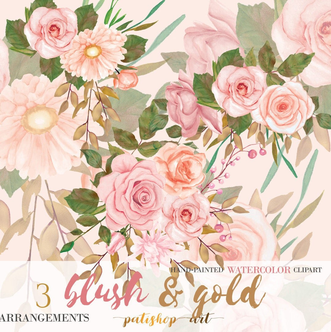 BLUSH & GOLD Watercolor Flower Clipart Blush Rose Gold ...