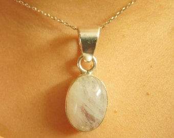 Sterling Silver Rainbow MoonStone Pendent