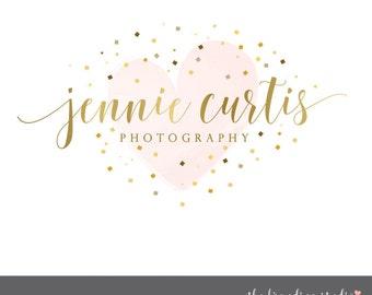 gold logo design premade logos heart design glitter and gold photography logo premade logo watercolor heart