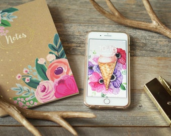 Iphone wallpaper, Ice cream cone wallpaper, floral phone wallpaper, peonies wallpaper, pink wallpaper, girly wallpaper, spring background