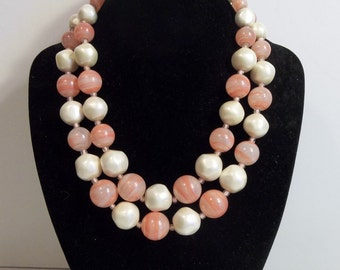 Vintage Pink And White Necklace
