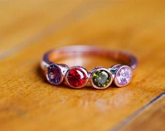 Birthstone Ring, Family Birthstone Ring, Family Ring, Personalized Ring For Mom, 4 Birthstone Ring, Mom Ring, Mom Gift, Jewelry For Mom