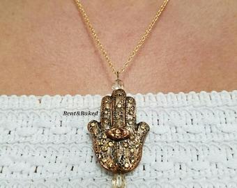Antiqued Hamsa Pendant