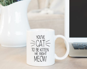 You've Cat to be Kitten me Right Meow, Cat Lovers Mug, Cat Mom, Cat Dad, Crazy Cat Lady,  Funny Mug, Friend Gift, Coworker Gift, Custom Mug