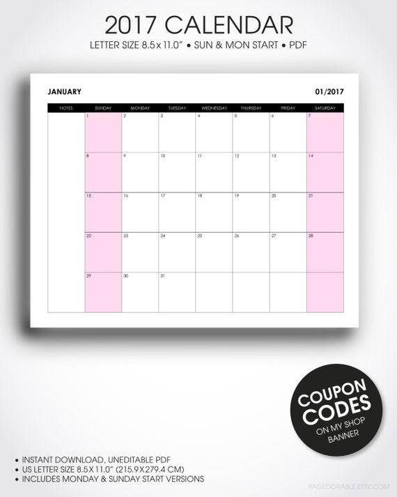 2017 desk calendar printable, desk planner, wall calendar organizer ...