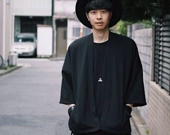 Men's Black Japan Kimono Cardigan, Man Noragi Coat, Oversized Street Haori Jacket, Summer Streetwear, Loose Style Yukata Spring Overcoat