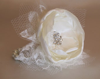 Ivory Wrist Corsage, Wedding Fabric Flower Corsage, Pearl Bracelet, Mother of the Bride Prom Corsage