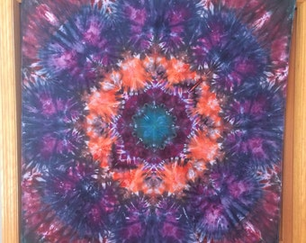 Into the Wormhole - 4'x4' Psychedelic Ice Dye Tie-Dye Trippy Hippie Festival Tapestry Wall hanging
