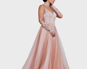 Pink fantasy wedding dress, Princess wedding dress, Wedding ball gown, A line wedding dress, Beaded wedding dress, Open back wedding dress