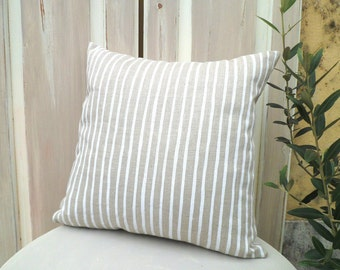 Stripped pillow in beige linen, white strips, linen cushion, country pillow, cottgage chic pillow, shabby chic pillow, cushion cover