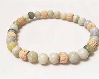 Serpentine and wood beaded bracelet, peridot Jasper bracelet, light green serpentine wood stretch bracelet