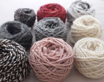 Odds and Ends Yarn Pack - hand spun yarns, weaving kit, sample pack, Merino, Shetland, Jacob