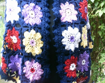 Shawl, crochet colorful flowers