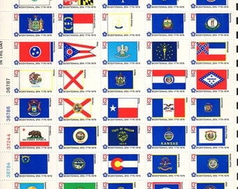 1976 US State Flags Postage Stamp Sheet
