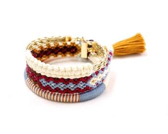 Ethnic Jewelry Women, Tribal Bracelet Stack, Boho Summer Bracelets, Ethnic Bracelet, Gift BFF Bracelet, Coachella 2017, Boho Rustic Bracelet