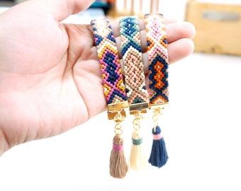 Boho Ethnic Bracelet Gift, Tribal Boho Bracelet Ideas, Woven Friendship Bracelet,  Wrap Tassel Bracelet Gift, Colorful Hippie Bracelet Gift