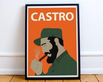 Stampa del manifesto di Fidel Castro / / parete arte, ritratto, arte retrò, colorato, minimalista, Cuba, rivoluzione, socialismo