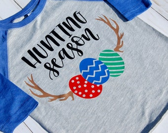 Boys Hunting Season Tee/Boys Easter Tee/Toddler Easter Shirt/Toddler Easter Baseball Tee/Hunting Season Baseball Tee/Boys Raglan