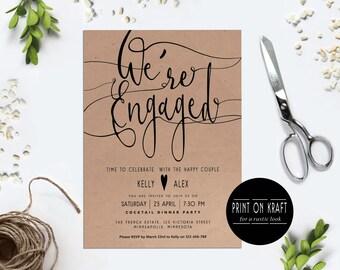 Engagement invitation We're engaged Printable engagement party Black and white Kraft Modern Digital invitation calligraphy Minimalist invite