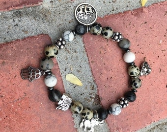 Charming Elephant:  Fun, Charm Bracelet with Jasper and Howlite