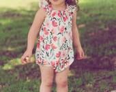 Girls romper - baby romper - romper for toddler girls - baby girls flutter sleeve romper - girls spring romper - spring romper for baby girl