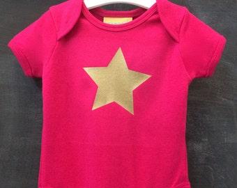 Star print baby bodysuit short sleeve 100% cotton