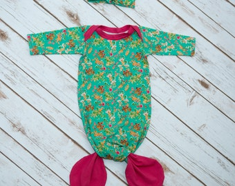 Green Floral and Bright Pink Mermaid Baby Gown & Headband Set