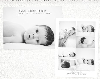 BIRTH ANNOUNCEMENT TEMPLATE, Birth Announcement, Newborn Announcement, Newborn, 5X7 Photoshop Template, Instant Download