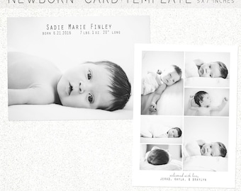 BIRTH ANNOUNCEMENT TEMPLATE, 5X7 Photoshop Template, Instant Download