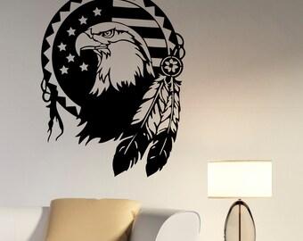 Native American Eagle Wall Decal Vinyl Sticker Bird of Prey Art Decorations for Home Living Kids Room Bedroom Office Animal Decor egl8