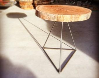 Steel Tripod Base Table with Eucalyptus Top