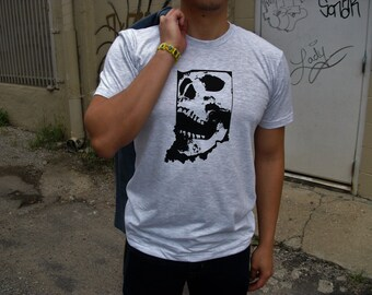 Indiana Skull T-shirt : Hand Screen Printed Unisex T-shirt, human skull in state gift, Indy, Indianapolis, men's women's grey gray t-shirt