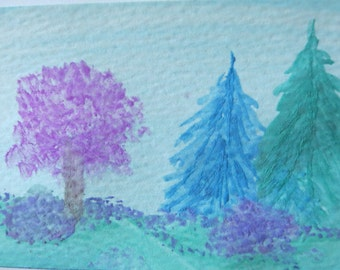 Original Watercolor Painting ACEO (Art Trading Card)