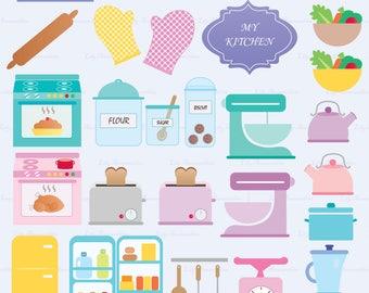 The Kitchen, Cook, Stove, Toaster Refrigerator, Blender, Mitten, Kettle, Salad, Clipart, Digital Stamps, Scrapbook, Commercial use