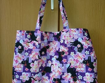 Japanese Cute/Kawaii Tote Bag - Cats and Cherry Blossoms - Purple Check
